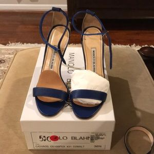 Manolo Blahnik Chaos sandals in bright blue